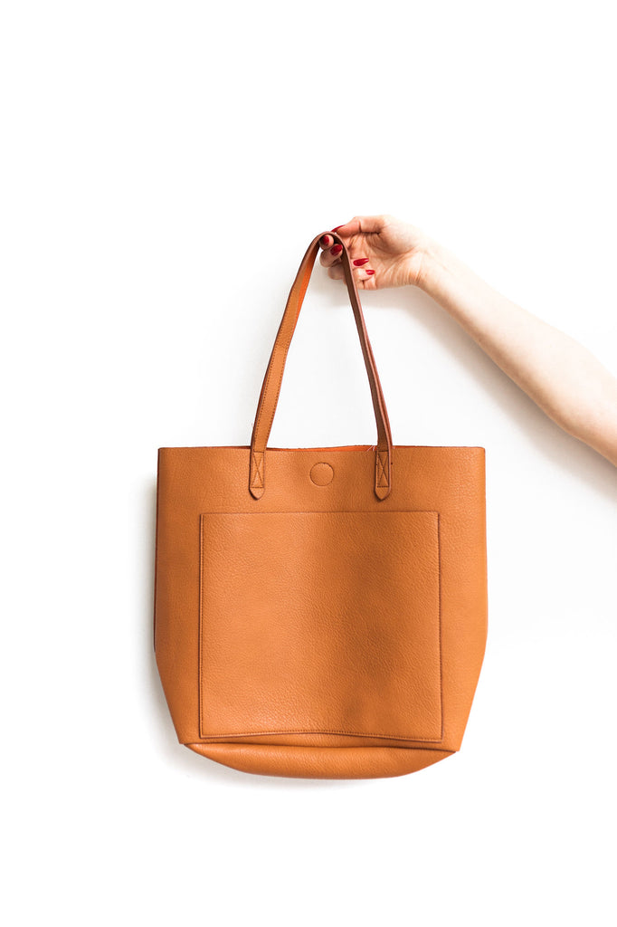 Reversible Tote Bag - Cognac/Orange