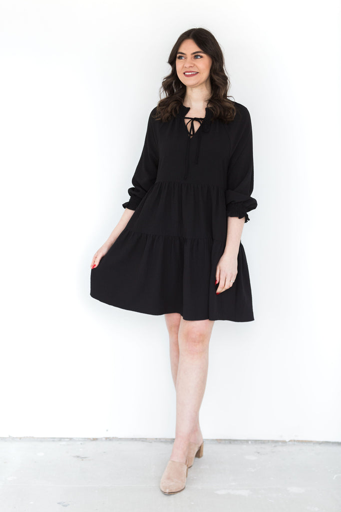 Crinkled Ruffled Babydoll Dress - Black
