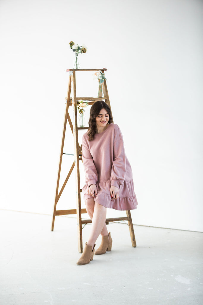 Tiered Ruffle Sweatshirt Dress - Mauve