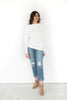 Asymmetrical Ribbed Knit Sweater - White