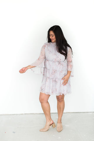 Long Sleeve Floral Dress - Cream + Red