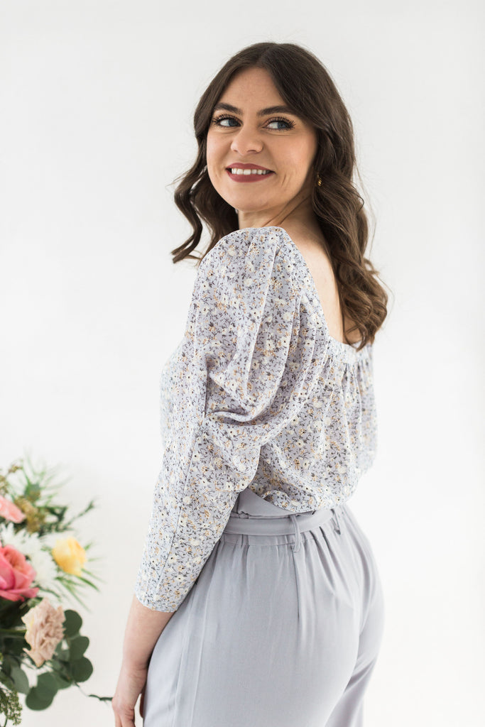 Long Puff Sleeve Floral Shirt - Lavender