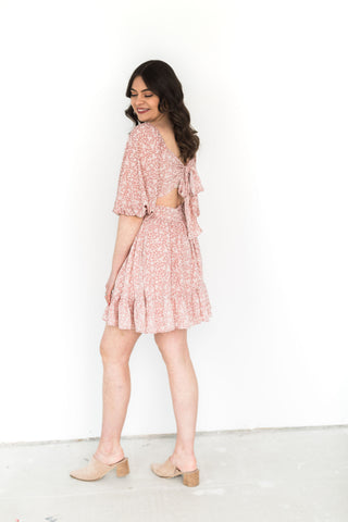 Floral Babydoll Swing Dress - Pink & Bei