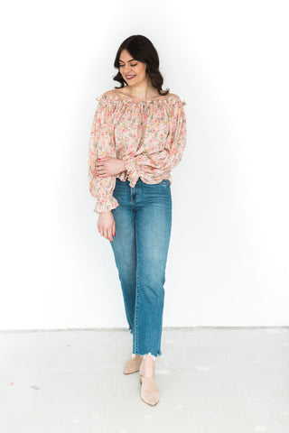 Rose Print Off Shoulder Shirt