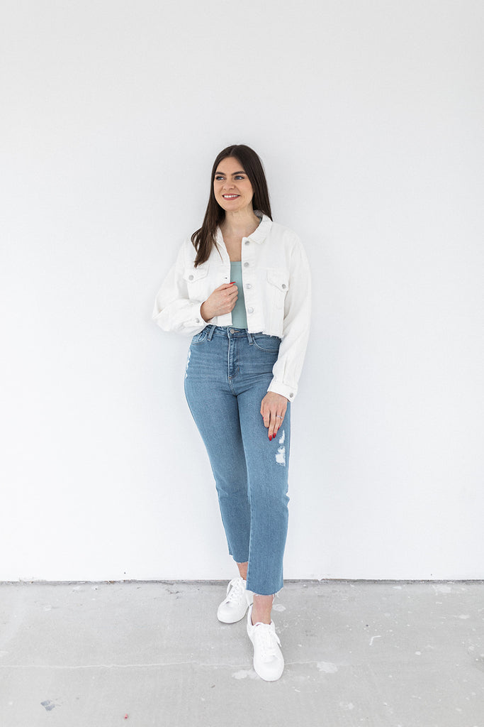 Raw Hem Cropped Denim Jacket - White