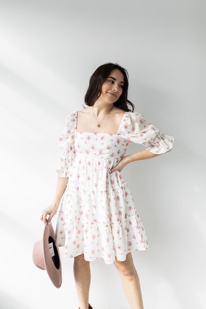 Floral Print Babydoll Dress with Tie Det
