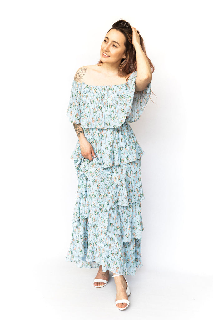Floral Tiered Pleated Maxi