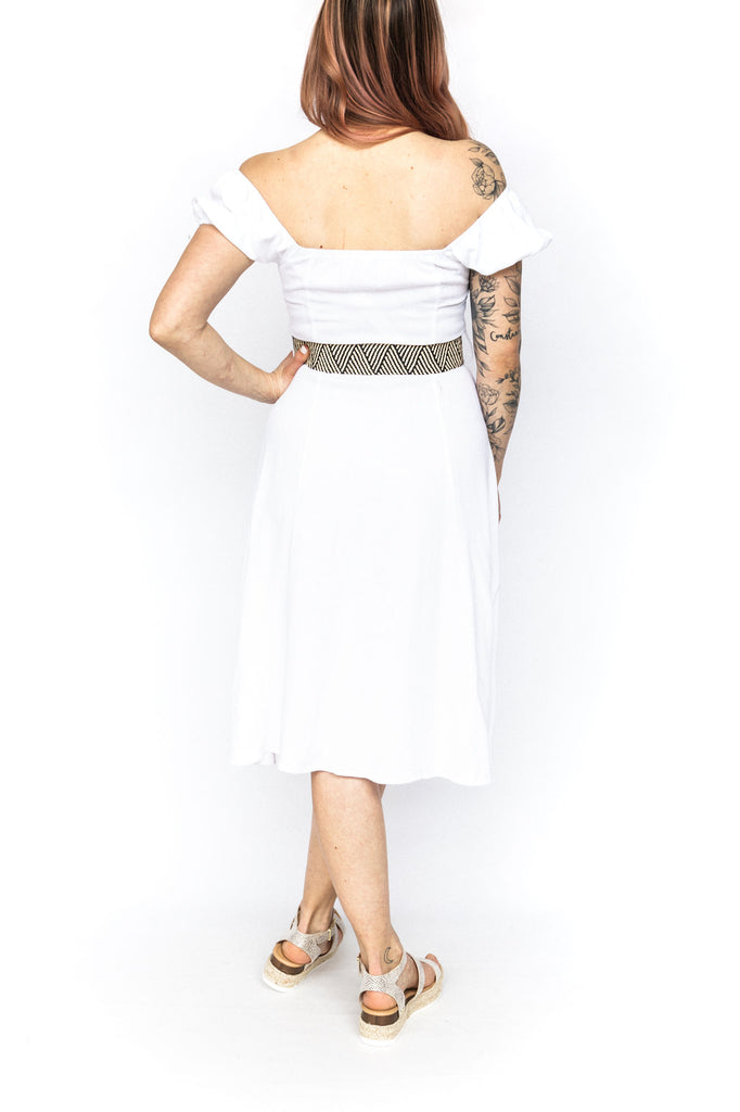 Linen Dress with Belt - White