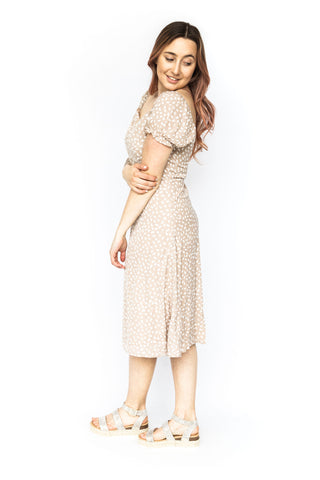 Long Slv Stripe Dress - Beige