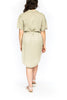 Knee Length Dress with Belt - Olive