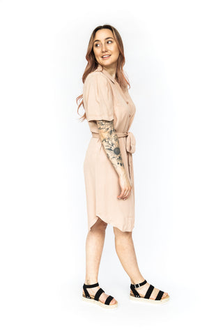 Flutter Sleeve Applique Dress - Cream