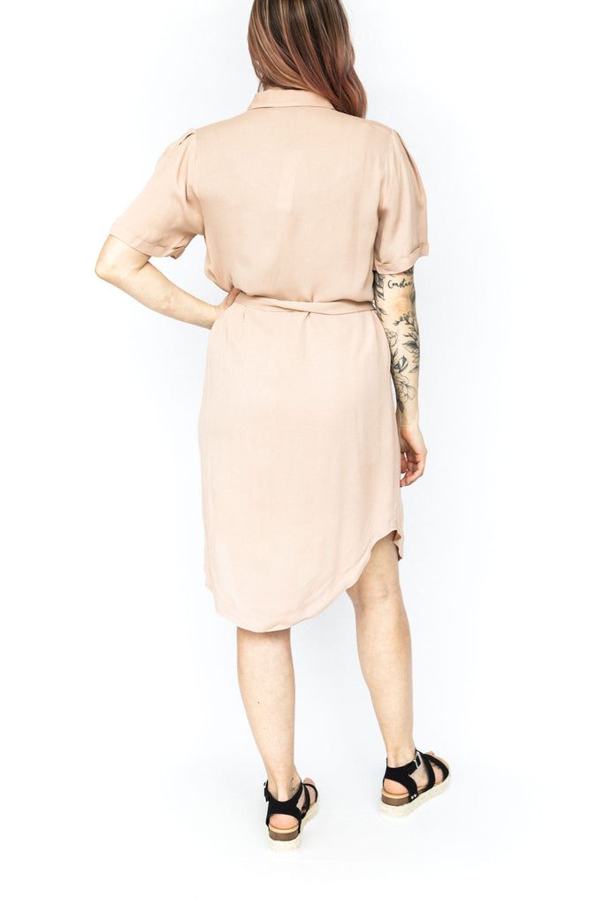 Knee Length Dress with Belt - Clay