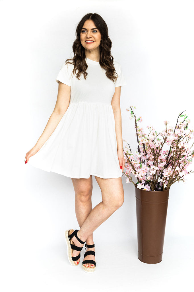 T-Shirt Fit and Flare Dress - White