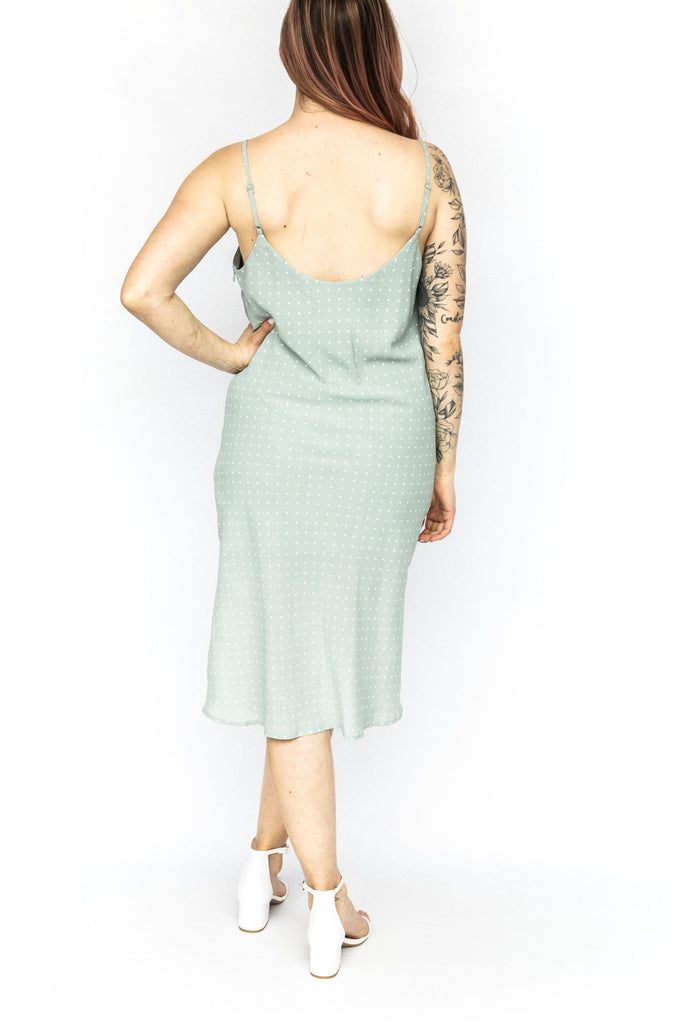 Polka Dot Slip Dress - Mint