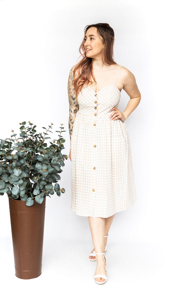 Beige Plaid Midi Dress with Buttons