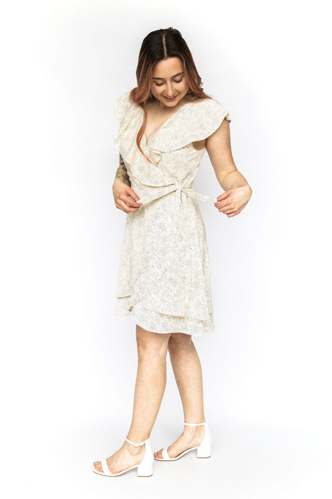 Cream with Dots Wrap Dress