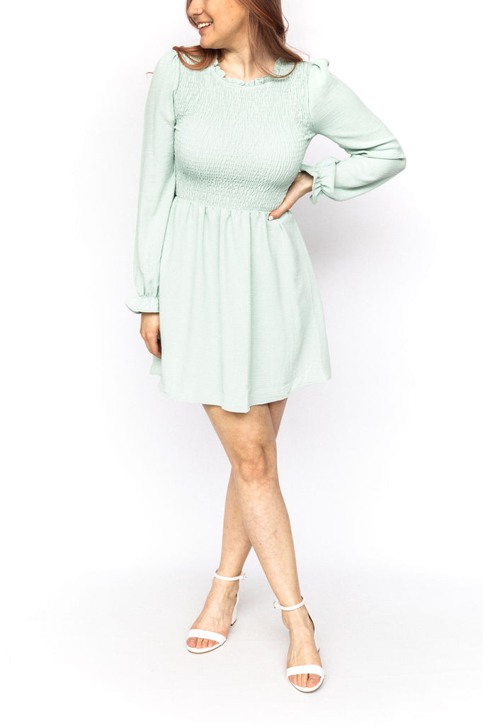 Smocked Dress with Long Sleeves