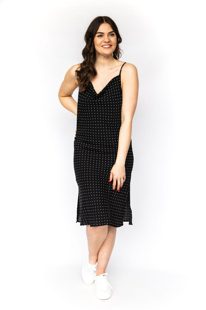 Polka Dot Slip Dress - Black