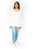 V-Neck Soft Sweater - White