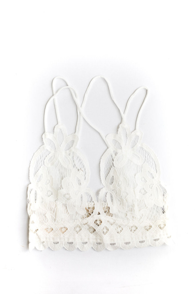 Lace Bralette with Smocking - White