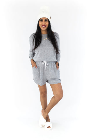 Roll Up Sleeve Chambray Romper - Light B