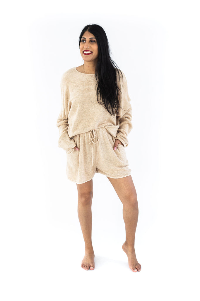 Terry Cloth Shorts Set - Tan