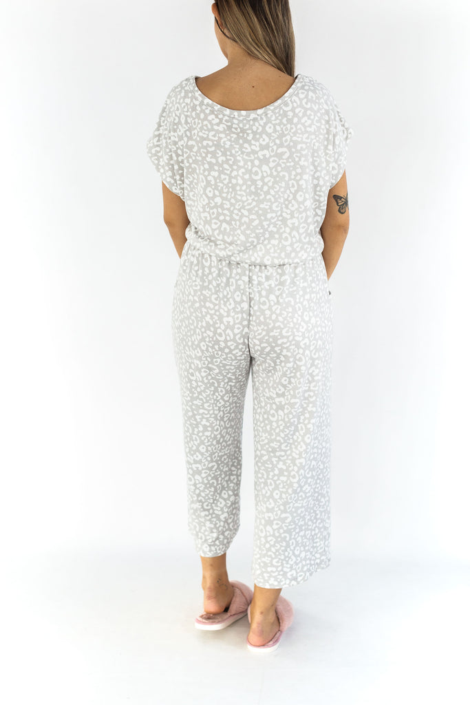 Grey & White Leopard Jumpsuit