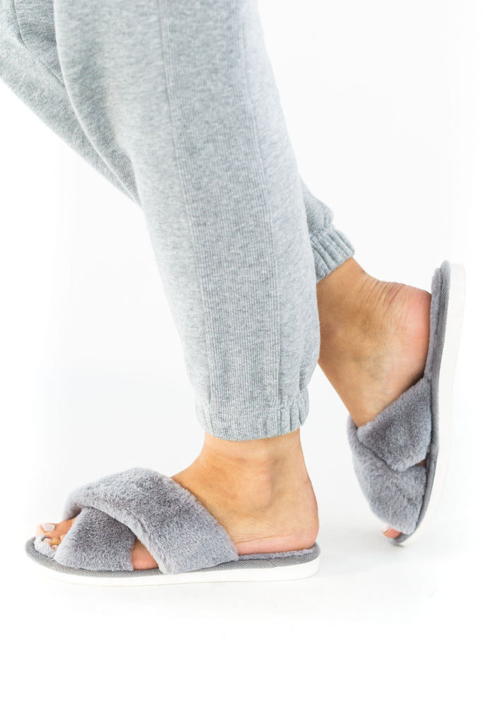 Fuzzy Slippers - Grey
