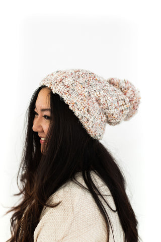 Ribbed Pom Pom Beanie - Grey
