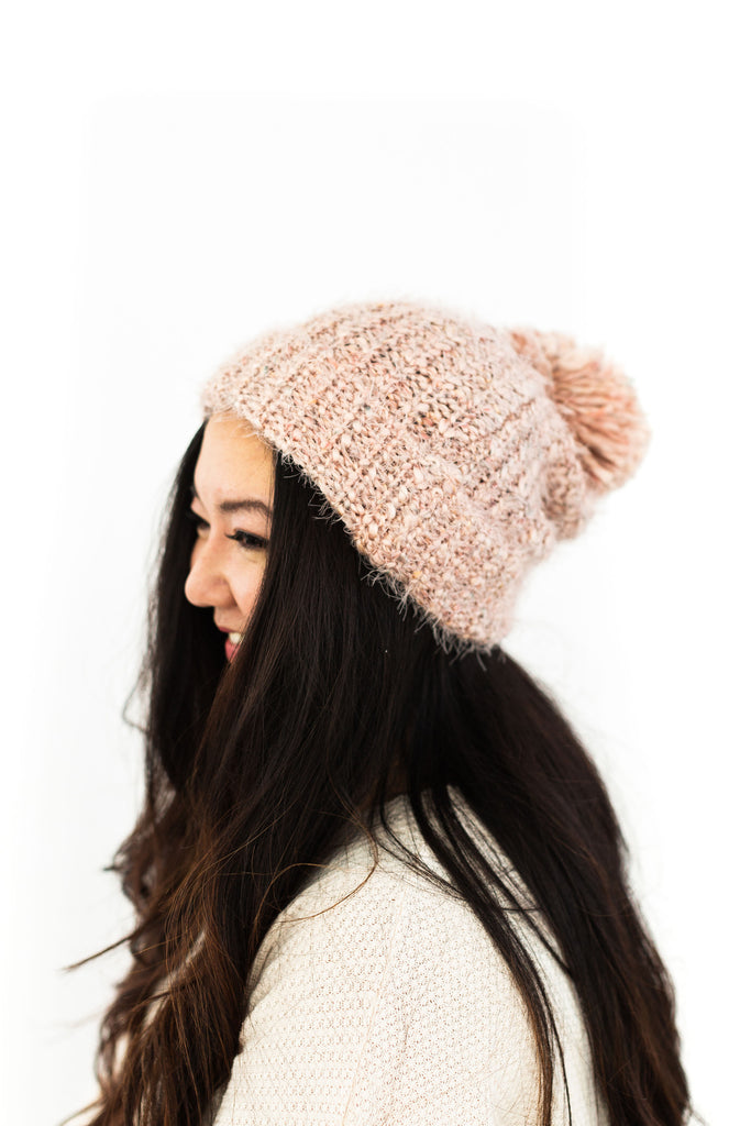 Multicoloured Knitted Toque - Pink