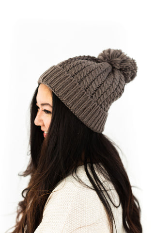 KIDS - Ribbed Pom Pom Toque - Beige