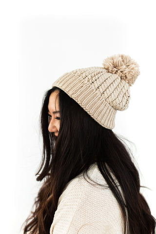 Folded Toque with Yarm Pom - Ivory
