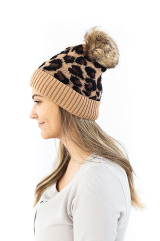 Multicoloured Knitted Toque - Ivory