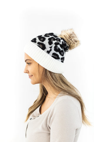 Cable Knit Beanie with Pom Pom - Black