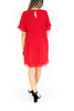Short Sleeve Pleated Dress - Red