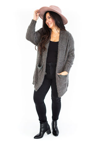Rib Knit Folded Cardigan - Charcoal