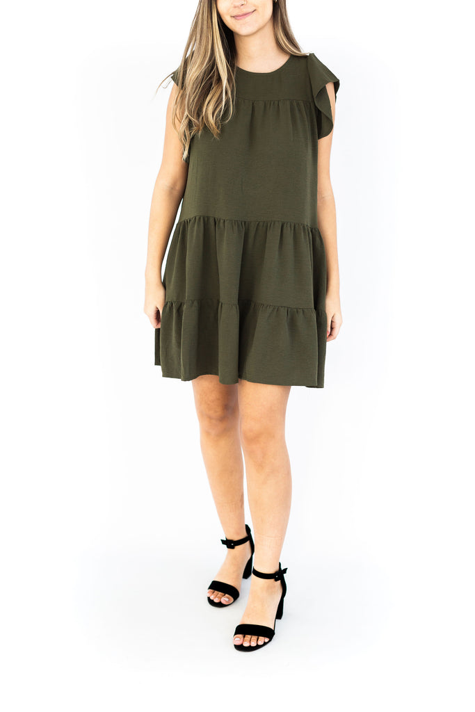 Tiered Ruffle Sleeve Dress - Olive