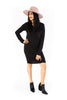 Long Sleeve Side Ruched Dress - Black