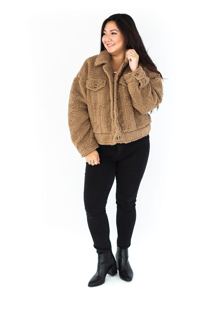 Oversized Teddy Jacket - Toffee
