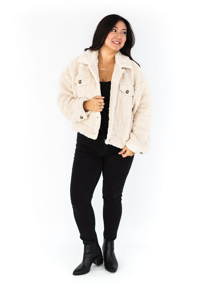Oversized Teddy Jacket - Cream