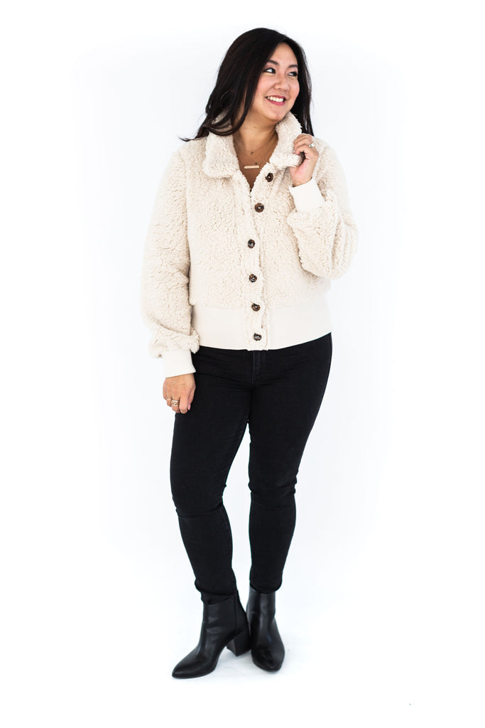 Teddy Jacket with Band - Cream