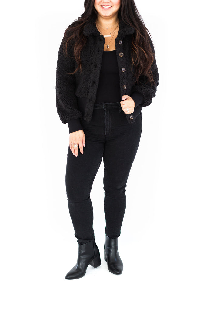 Teddy Jacket with Band - Black