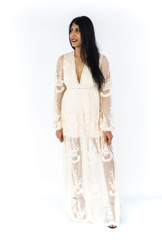 Lace Deep-V Maxi Dress - Cream