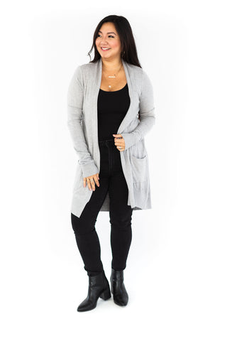 Ribbed Cardigan with Pockets - Camel