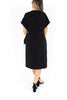 Knee Length Wrap Dress - Black