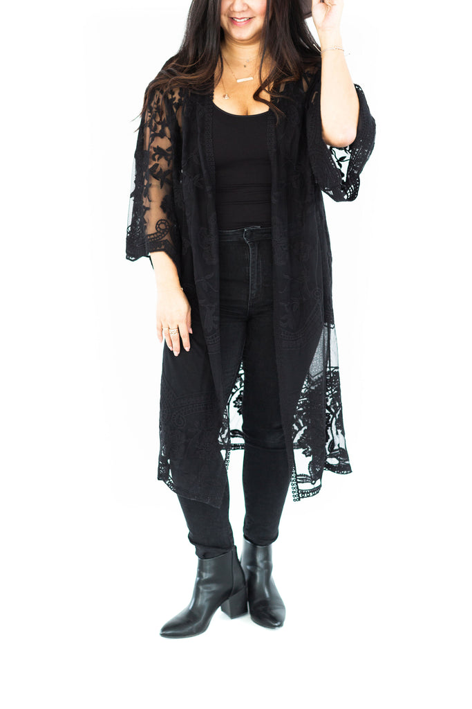 Open Lace Cardigan - Black