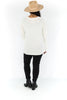 Deep V-Neck Tunic Sweater - Winter White