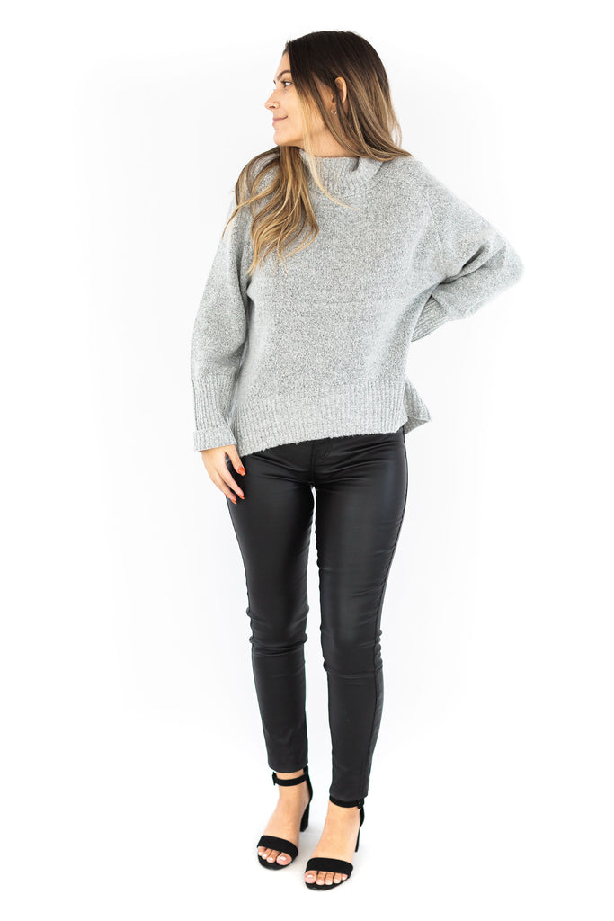 Loose Fit Turtle Neck Sweater - Grey