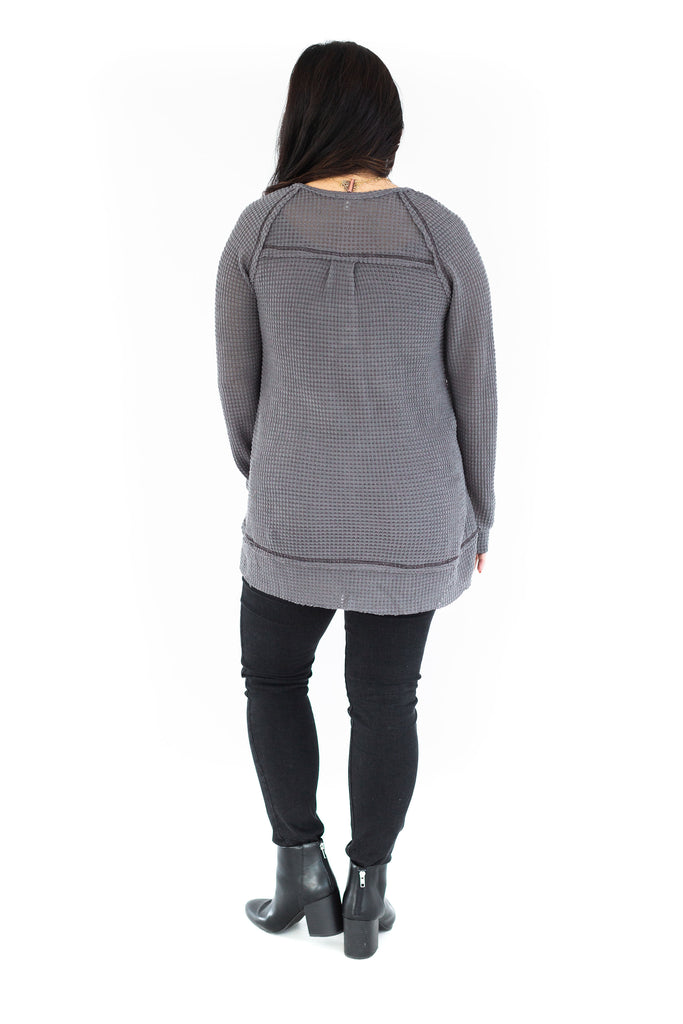 Button Detail Waffle Tunic - Charcoal