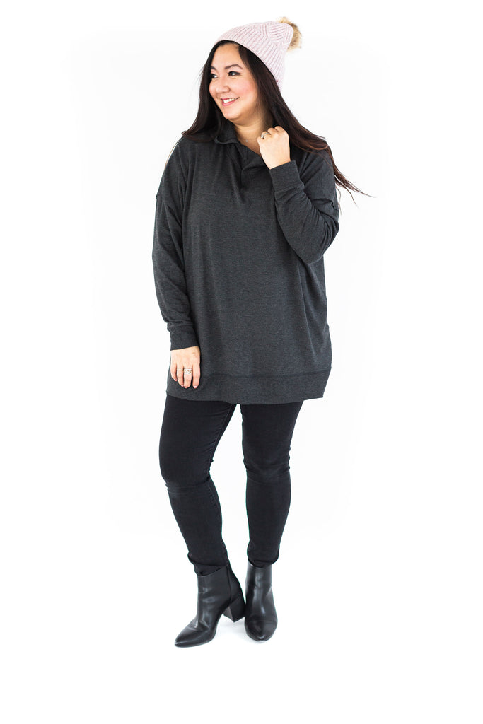 Slouchy Pullover with Hood